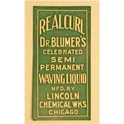 VINTAGE DR BLUMERS REALCURL PERM WAVING BOTTLE LABEL