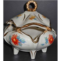 VINTAGE HAND PAINTED CANDY DISH W/ LID