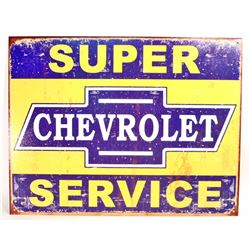 SUPER CHEVROLET SERVICE METAL ADVERTISING SIGN - 12.5X16
