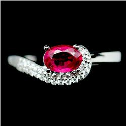 DELIGHTFUL! REAL! 5 X 7 mm. GEM PINK RUBY STERLING 925 SILVER RING SZ 8.5