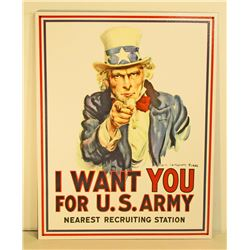 UNCLE SAM METAL ADVERTISING SIGN - 12.5X16