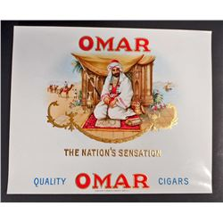 VINTAGE OMAR THE NATIONS SENSATION INNER CIGAR BOX LABEL
