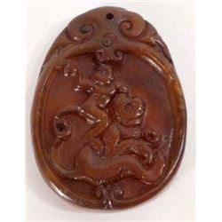 ASIAN CARVED JADE STONE AMULET PENDANT