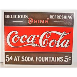 COCA COLA 5 CENTS METAL ADVERTISING SIGN - 12.5X16