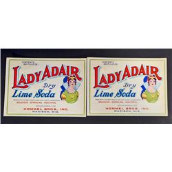 LOT OF 2 VINTAGE LADY ADAIR LIME SODA LABELS