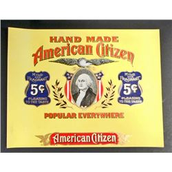 VINTAGE AMERICAN CITIZEN INNER CIGAR BOX LABEL