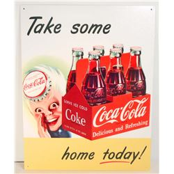 COCA COLA METAL ADVERTISING SIGN - 12.5X16