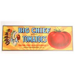 VINTAGE BIG CHIEF TOMATOES CRATE ADVERTISING LABEL