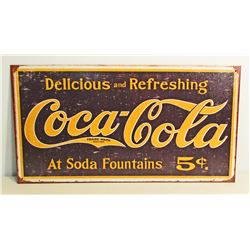 COCA COLA 5 CENTS METAL ADVERTISING SIGN - 8.5X16