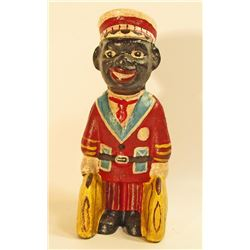 "BLACK AMERICANA CAST IRON RED CAP PORTER  BANK - 6"" TALL"