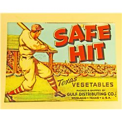 VINTAGE SAFE HIT TEXAS VEGETABLE CRATE ADVERTISING LABEL