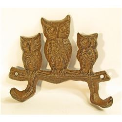 "CAST IRON OWLS ON BRANCH WALL MOUNT HOOKS - 5"" WIDE"