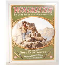 WINCHESTER FIREARMS METAL ADVERTISING SIGN - 12.5X16