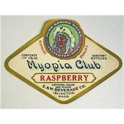 RARE VINTAGE MYOPIA CLUB RASPBERRY SODA ADVERTISING LABEL