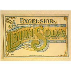 ANTIQUE EXCELSIOR LEMON SODA HUTCHINSON BOTTLE LABEL