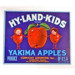 VINTAGE HY-LAND KIDS APPLE CRATE ADVERTISING LABEL