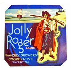VINTAGE JOLLY ROGER PIRATE SHIP ORANGE CRATE ADVERTISING LABEL