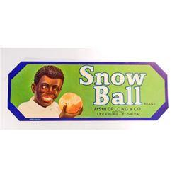 VINTAGE BLACK AMERICANA SNOW BALL ORANGES CRATE LABEL