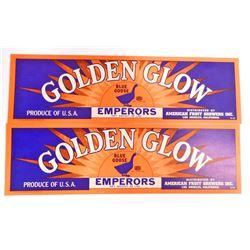 LOT OF 2 VINTAGE GOLDEN GLOW BLUE GOOSE EMPERORS GRAPE CRATE LABELS