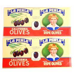 LOT OF 2 VINTAGE LA PERLA CALIFORNIA OLIVES CAN LABELS
