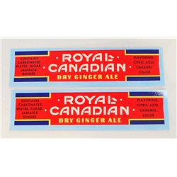 LOT OF 2 VINTAGE ROYAL CANADIAN GINGER ALE LABELS - UNUSED