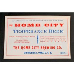 EARLY UNUSUAL HOME CITY TEMPERANCE BEER ADVERTISING LABEL