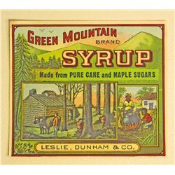 VINTAGE BLACK AMERICANA MAMMY GREEN MOUNTAIN SYRUP LABEL