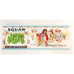 VINTAGE SQUAW EXTRA SIFTED PEAS ADVERTISING LABEL