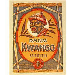 VINTAGE KWANGO RUM ADVERTISING LABEL