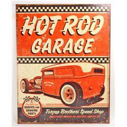 HOT ROD GARAGE METAL ADVERTISING SIGN - 12.5X16