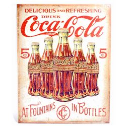 DRINK COCA COLA 5 CENTS METAL ADVERTISING SIGN - 12.5X16