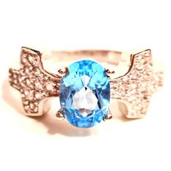 WHITE GOLD OVER STERLING SILVER SWISS BLUE TOPAZ RING