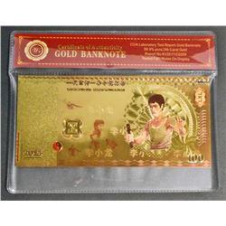 99.9% 24KT GOLD BRUCE LEE $100 GOLD BANKNOTE W/ COA