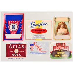 LOT OF 6 VINTAGE ADVERTISING LABELS, BEER, SODA, SYRUP, ETC