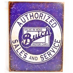 AUTHORIZED BUICK SALES AND SERVICE METAL ADVERTISING SIGN - 12.5X16