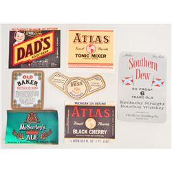 LOT OF 7 VINTAGE ADVERTISING LABELS - WHISKEY, BEER, SODA, ETC