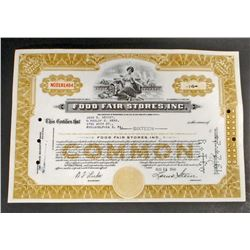 VINTAGE FOOD FAIR STORES INC STOCK CERTIFICATE