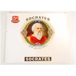 LARGE SOCRATES 5 CENT CIGARS LABEL