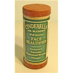 VINTAGE CINDERELLA FACE BEAUTIFIER CARDBOARD ADVERTISING CANISTER