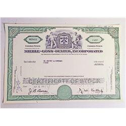 VINTAGE MIEHLE GOSS DEXTER INC STOCK CERTIFICATE