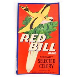 VINTAGE RED BILL CELERY CRATE ADVERTISING LABEL