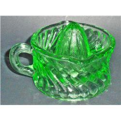GREEN DEPRESSION INSPIRED GLASS JUICER W/ SWIRL PATTERN