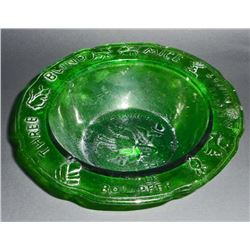"""GREEN GLASS MOTHER GOOSE EMBOSSED CHILDS BOWL - 6"""" DIAM"""