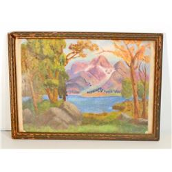 VINTAGE OIL PAINTING OF A MOUNTAIN SCENE - FRAMED