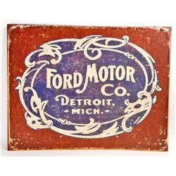 FORD MOTOR CO. METAL ADVERTISING SIGN - 12.5X16