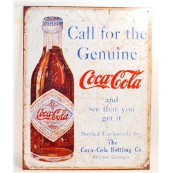 GENUINE COCA COLA METAL ADVERTISING SIGN - 12.5X16