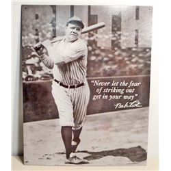 BABE RUTH BASEBALL METAL ADVERTISING SIGN - 12.5X16