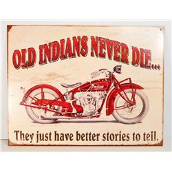 INDIAN MOTORCYCLES METAL ADVERTISING SIGN - 12.5X16