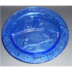 "COBALT BLUE DEPRESSION INSPIRED GLASS NURSERY RHYME CHILDS PLATE - 8.5"" DIAM"