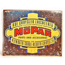 MOPAR PARTS AND ACCESSORIES METAL ADVERTISING SIGN - 12.5X16